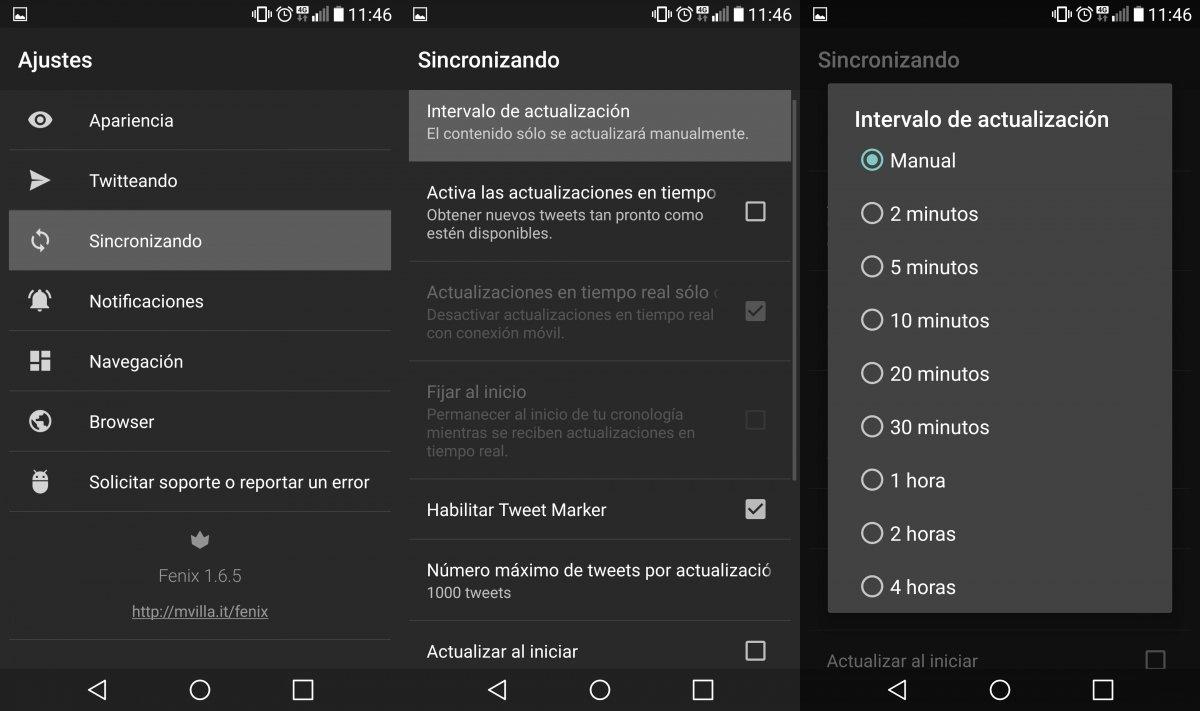 Configuración de Fenix for Twitter para bajar la frecuencia de actualización desde sus ajustes