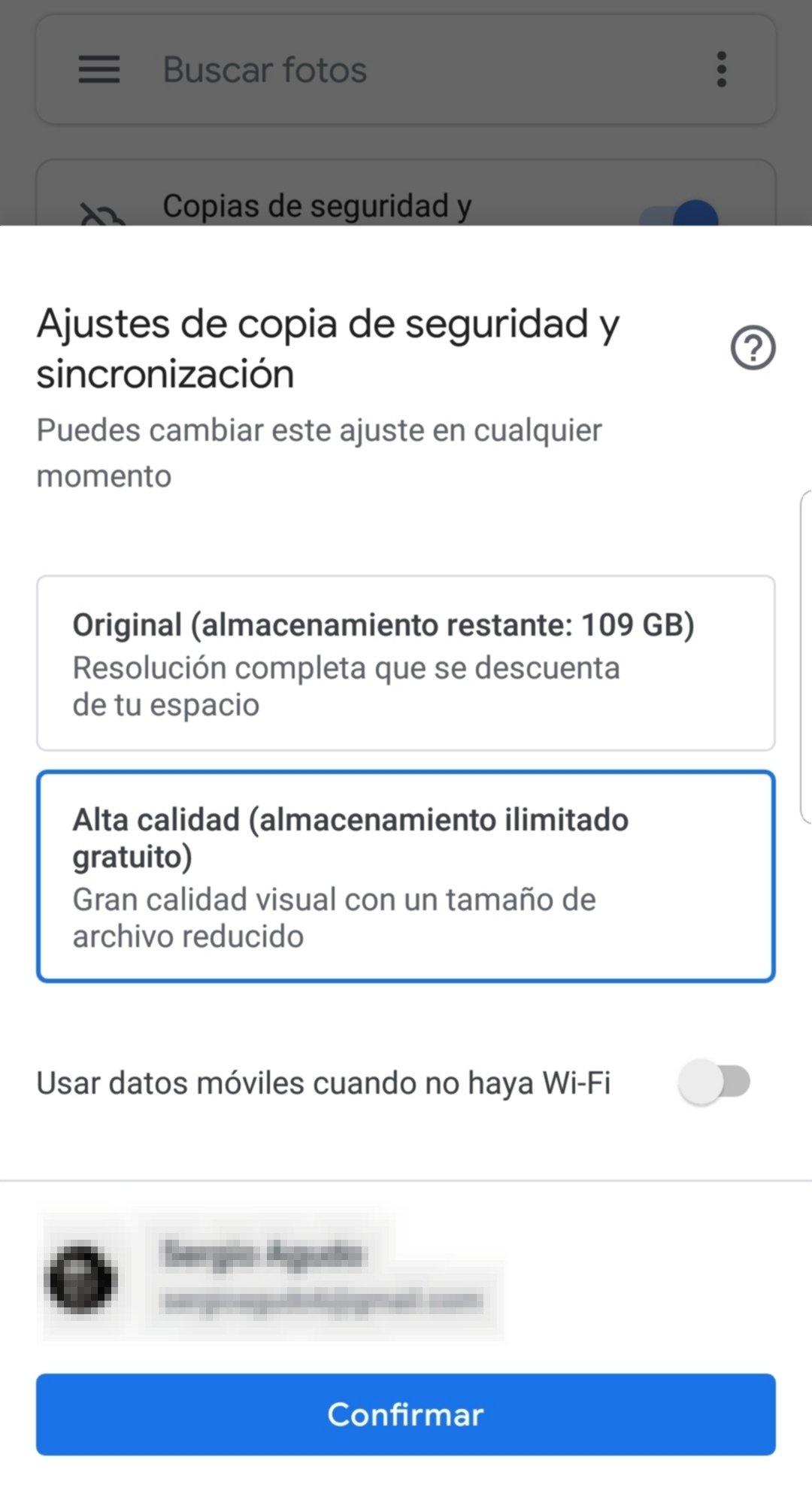 Configuración de fotos en la nube de Google Fotos