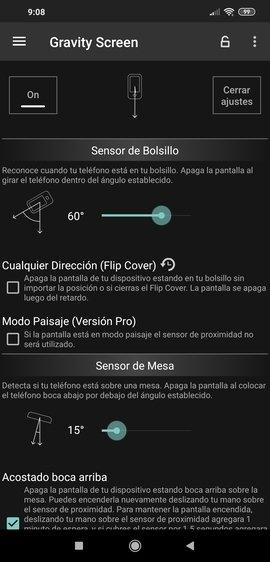 Configuración de Gravity Screen