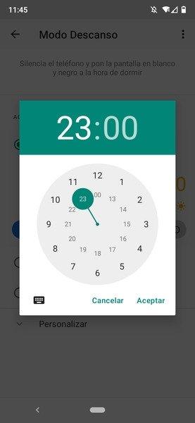 Configuración de la hora de inicio del Modo Descanso