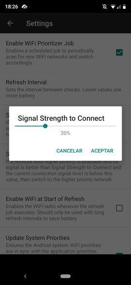 Configuración de la intensidad mínima de señal para conectarse a una red