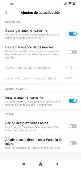 Configuración de las actualizaciones de Android