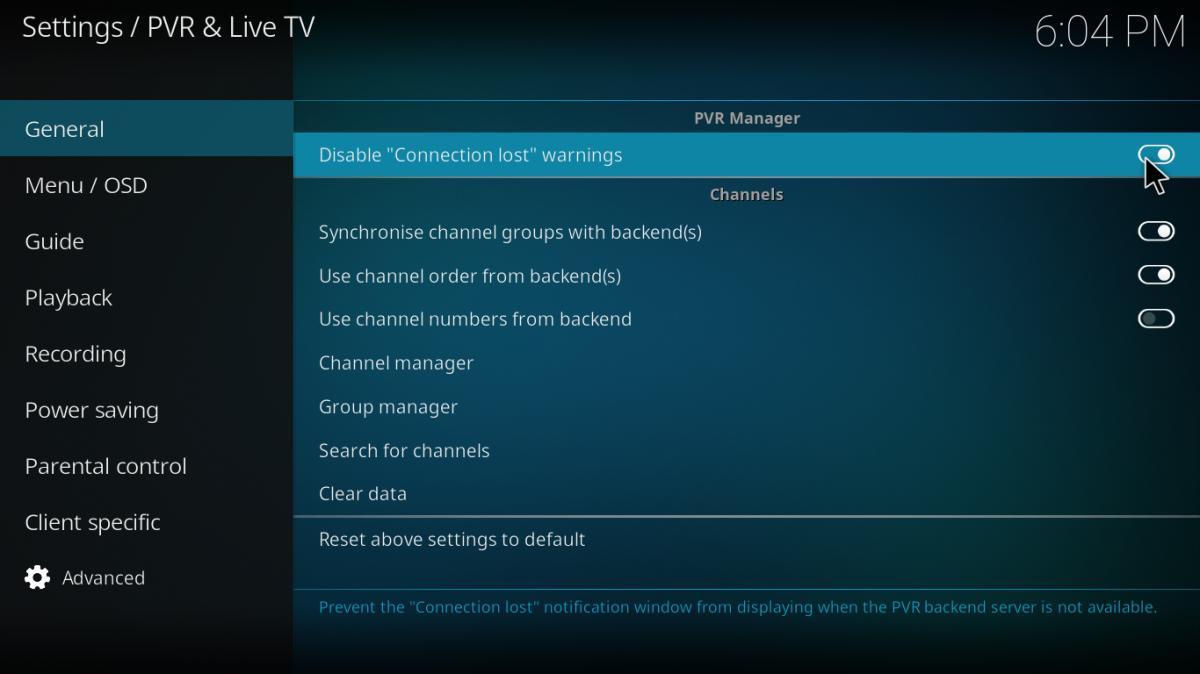 Configuración de PVR y TV en directo en Kodi