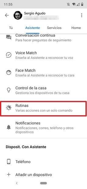 Configuración de rutinas de voz en el asistente de Google