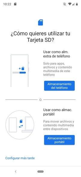 Configuración de una tarjeta SD nueva en Android