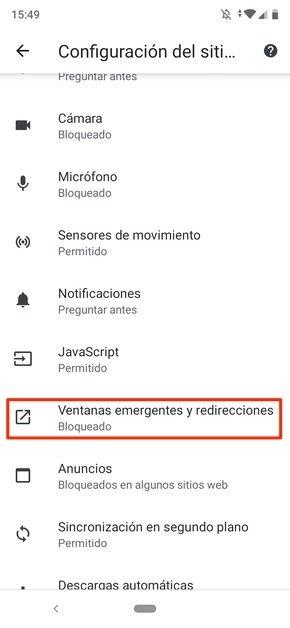 Configuración de webs en Chrome