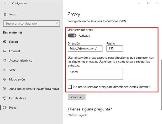 Configuración del proxy personalizado