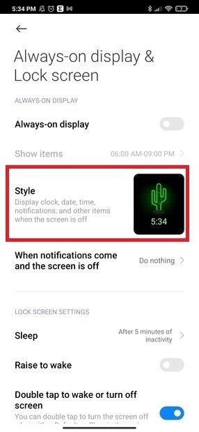 Configurar el estilo de la pantalla encendida