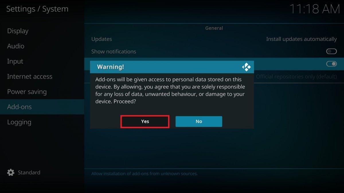 Confirmación del nuevo ajuste para instalar add-ons