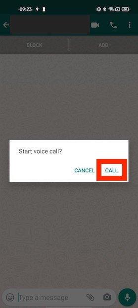 Confirmar el inicio de la llamada