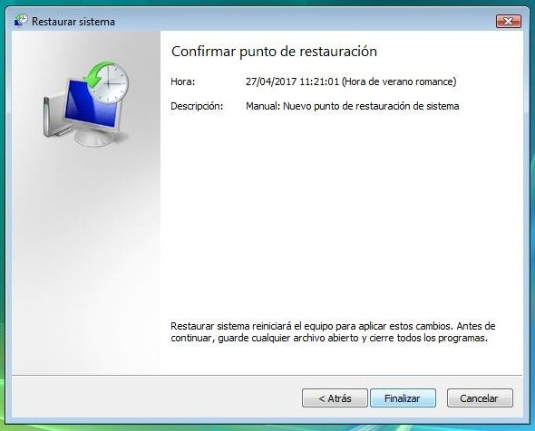Confirmar punto de restauración en Windows Vista