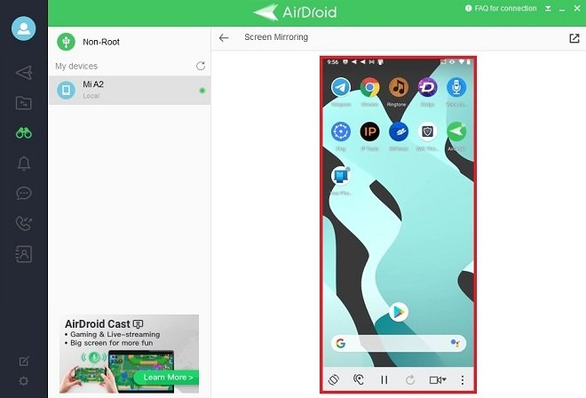 Contenido de la pantalla de Android en Windows