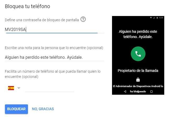Contraseña de desbloqueo de Android