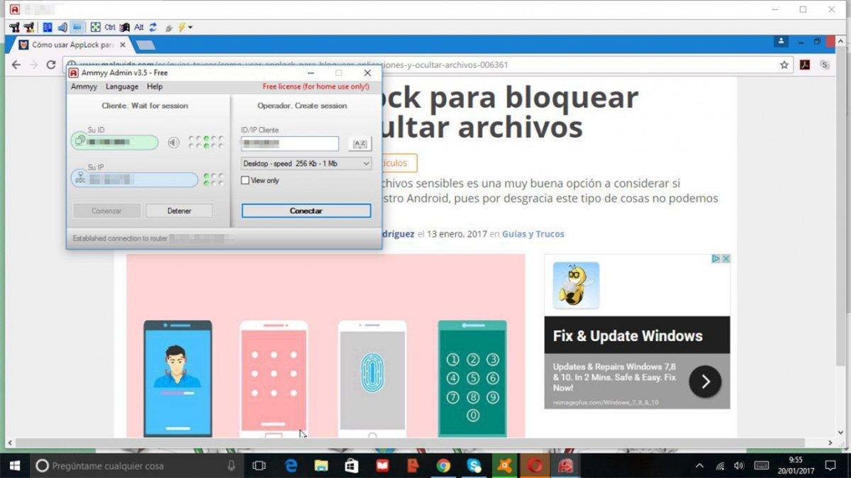 Controlando Windows 8.1 desde Windows 10 con Ammyy Admin
