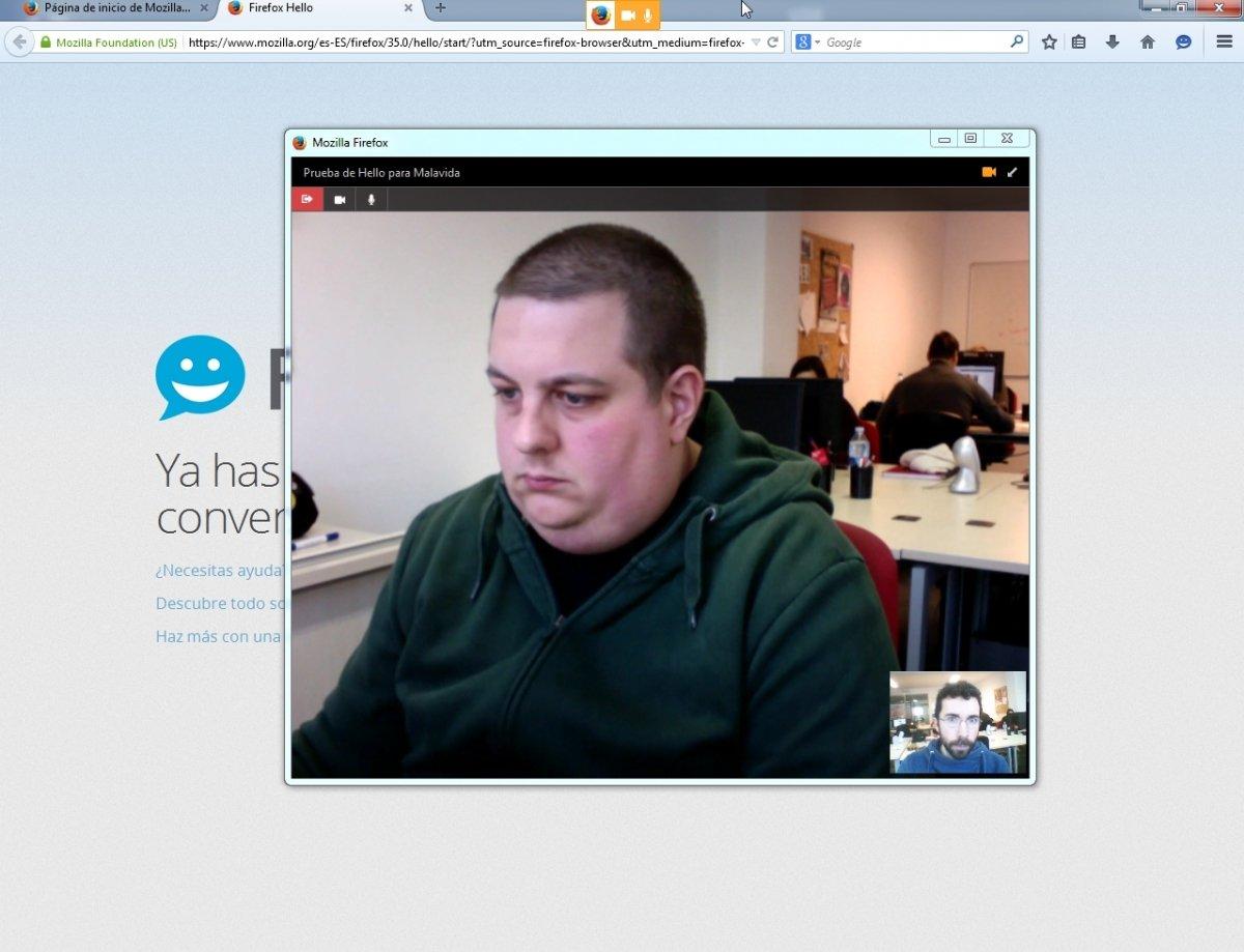 Conversación iniciada en Hello de Firefox