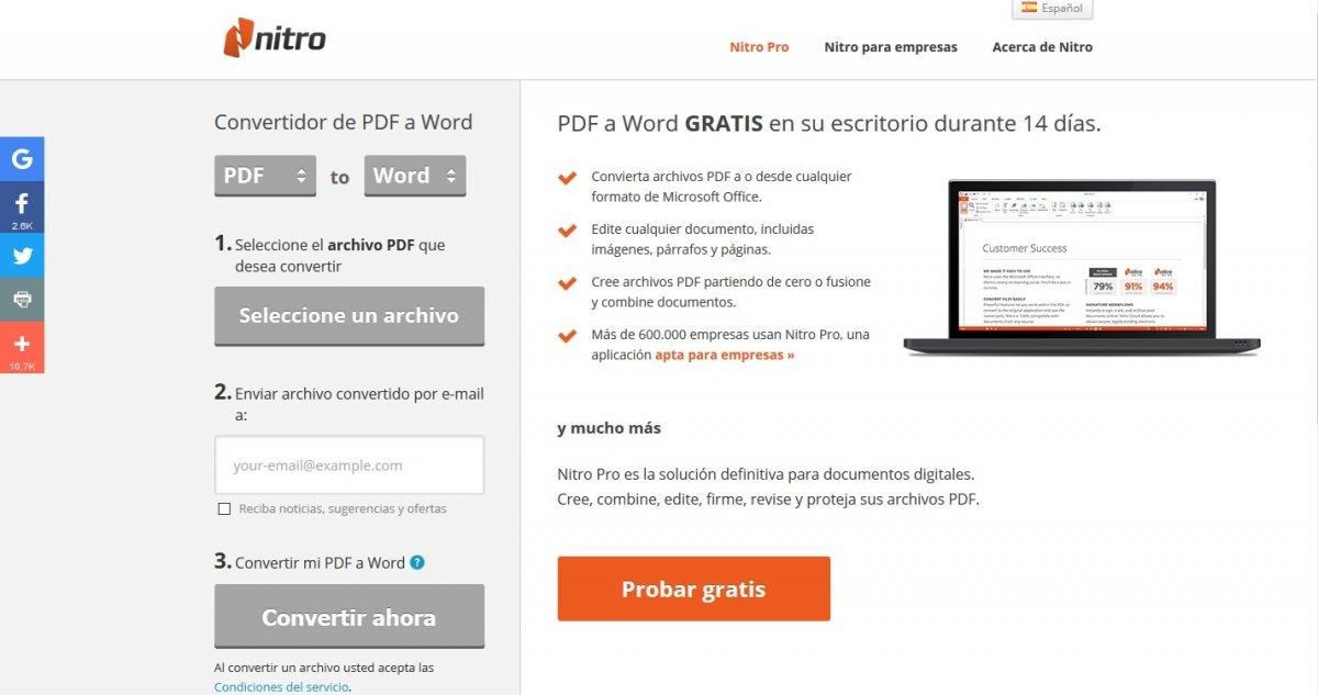 Convertidor PDF a Word es una aplicación gratis y en español que corre a cargo de Nitro Software