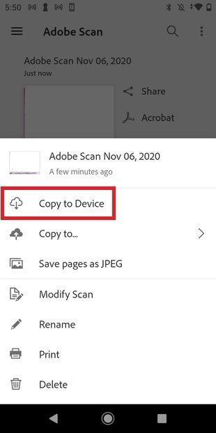 Copiar en el dispositivo