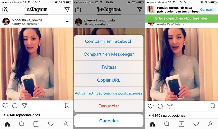 Copiar enlace de vídeo de Instagram