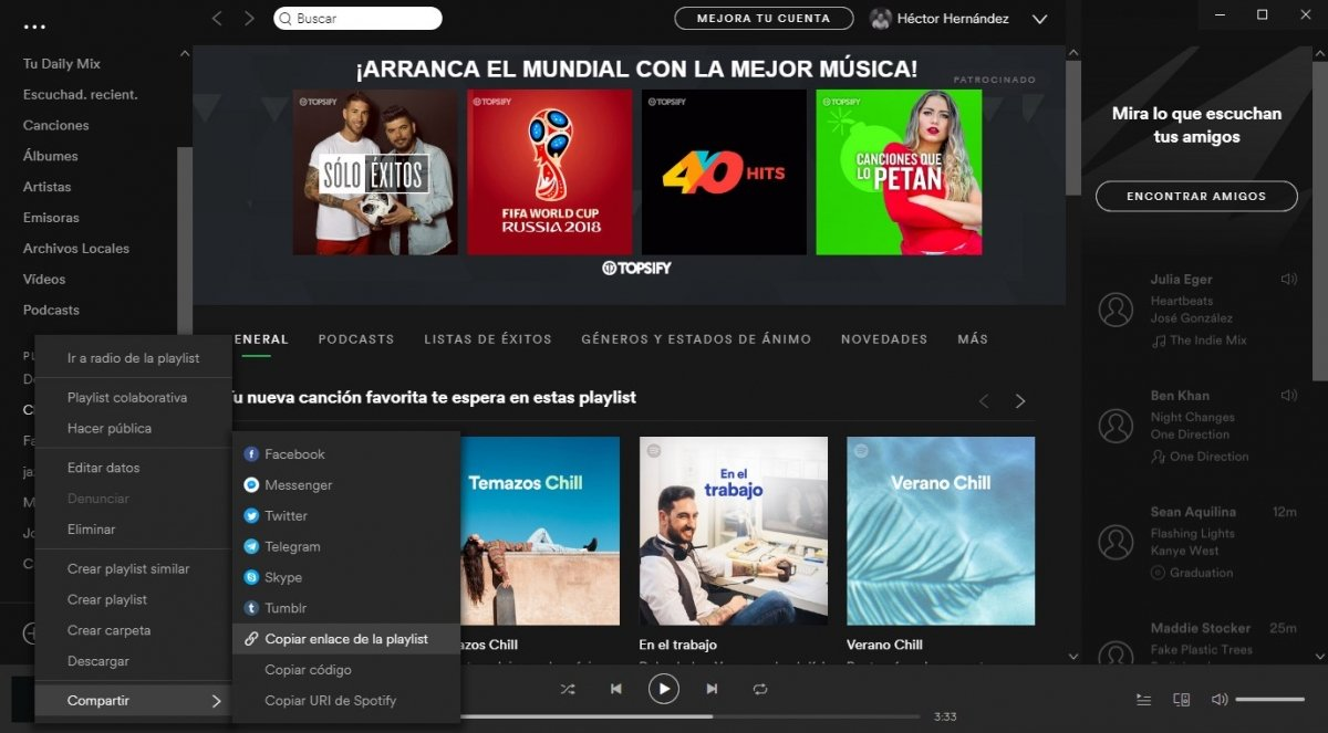 Copiar la URL de una playlist de Spotify
