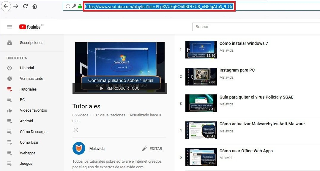 Copiar la URL de una playlist en YouTube