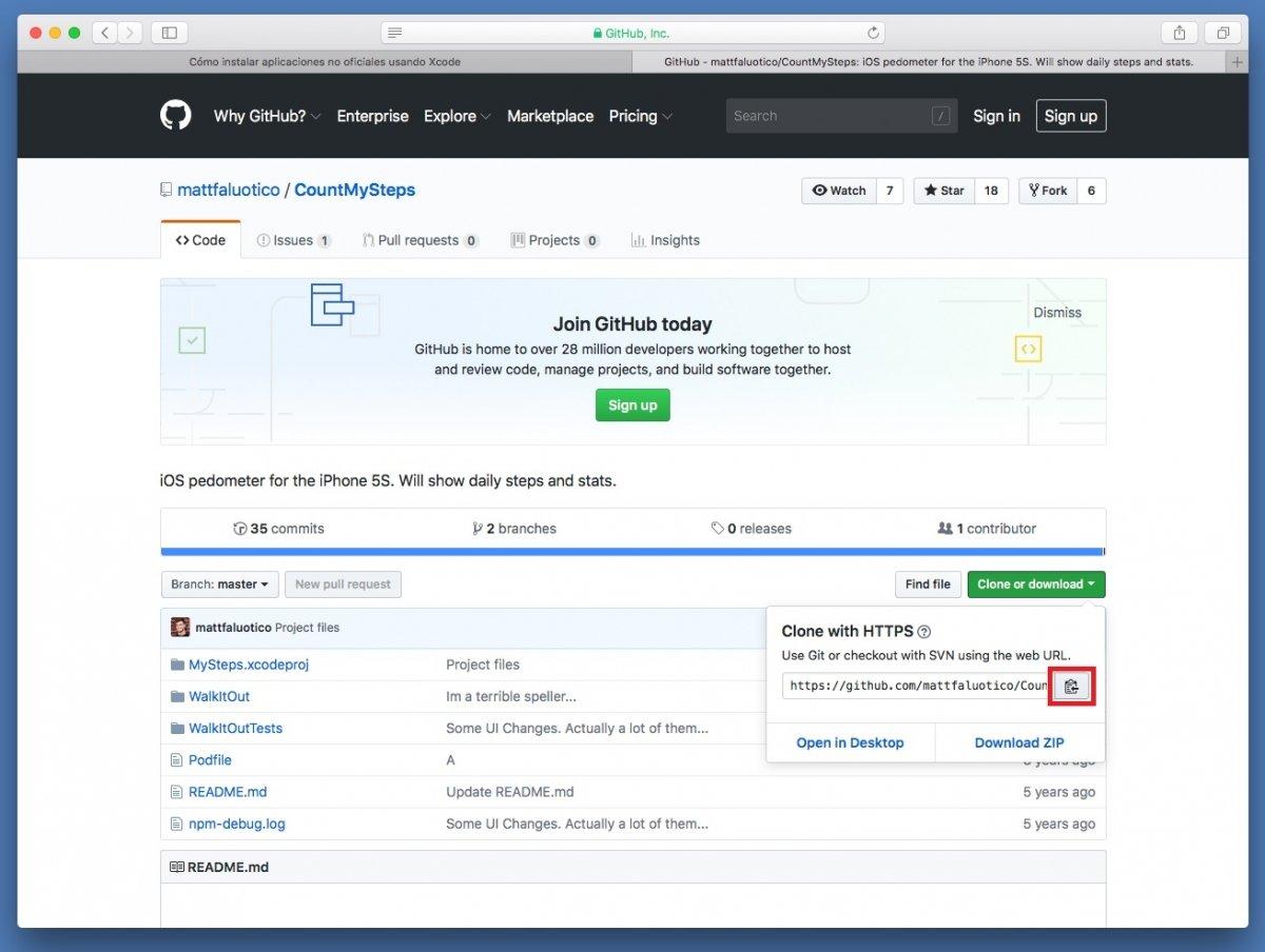 Copiar URL del proyecto en GitHub