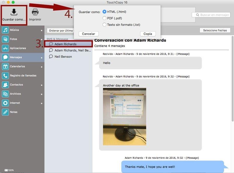 Crea copias de seguridad de tus mensajes
