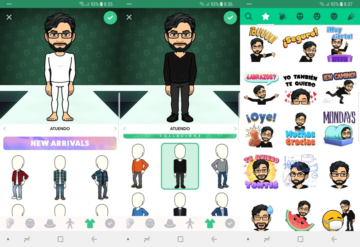 Creación de un avatar en Bitmoji