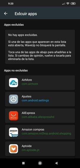 Creación de una lista blanca de apps en WaveUp