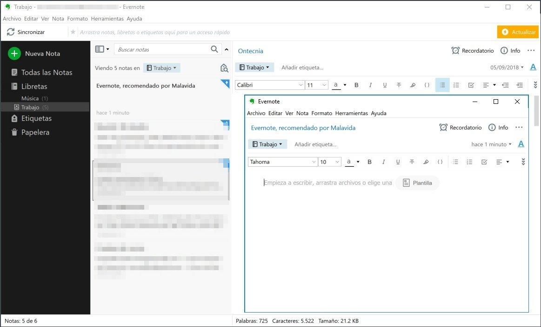 Creación de una nota en Evernote