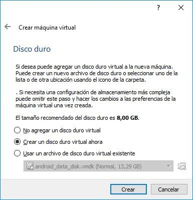 Creamos el disco duro virtual