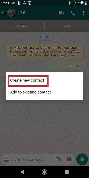 Crear nuevo contacto