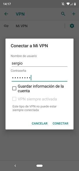 Credenciales de conexión a una red VPN