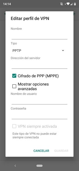 Datos de la red VPN