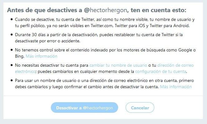 Desactivación de cuenta en Twitter