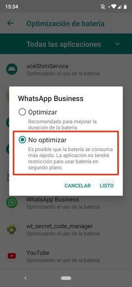 Desactivando Doze para una app