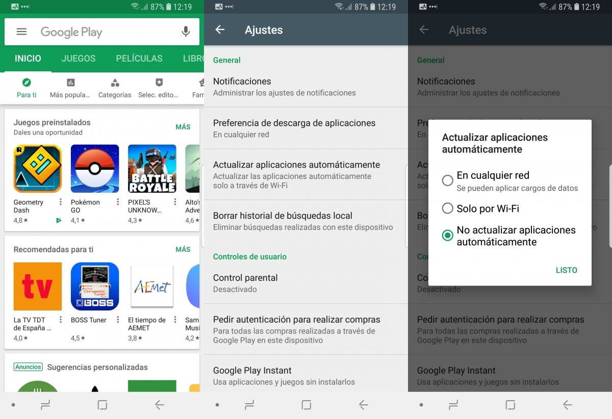 Desactivando las actualizaciones automáticas de apps