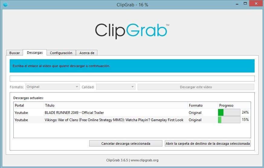 Descarga de archivos desde ClipGrab