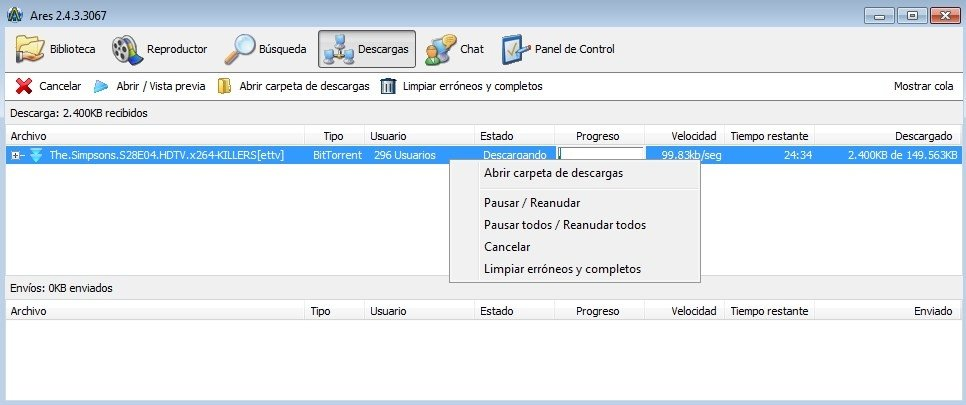Descarga de torrents en Ares