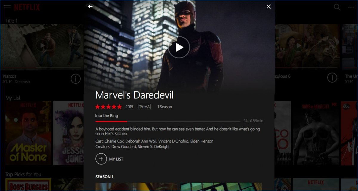 Descarga de un capítulo en Netflix para Windows 10