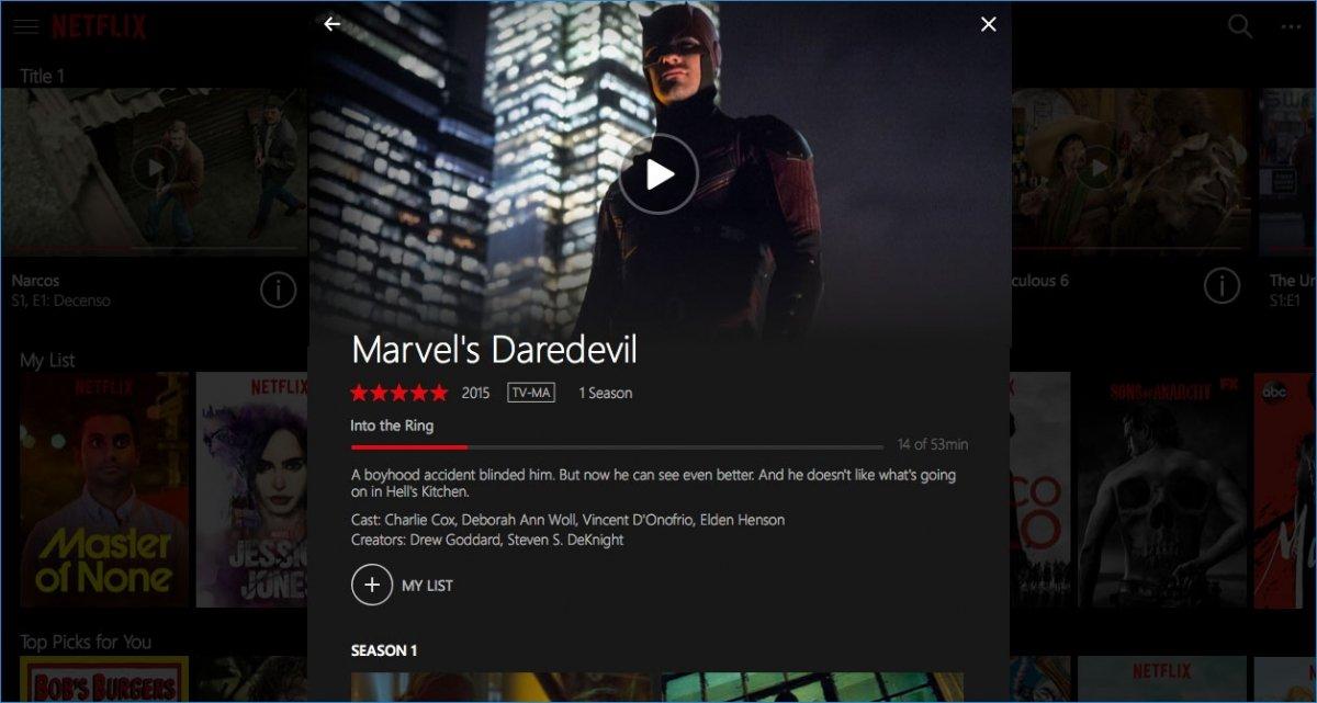 Descarga de un capítulo en Netflix para Windows 10