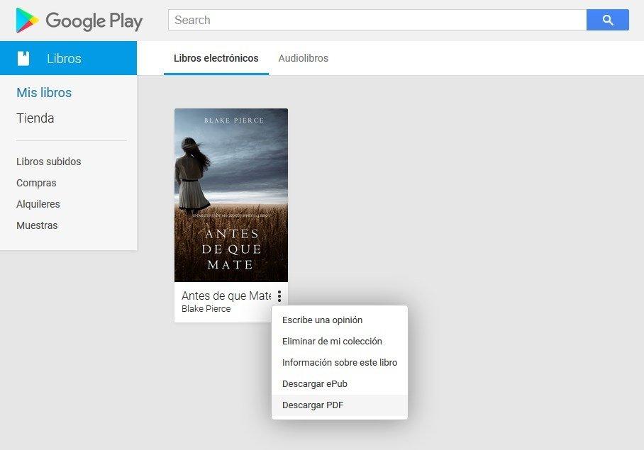 Descarga de un libro desde Google Play en PDF