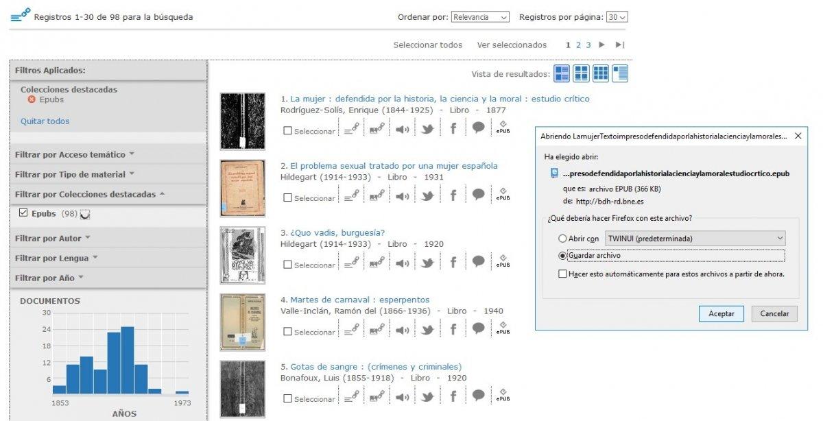Descarga de un libro ePub desde la Bilblioteca Nacional Digital