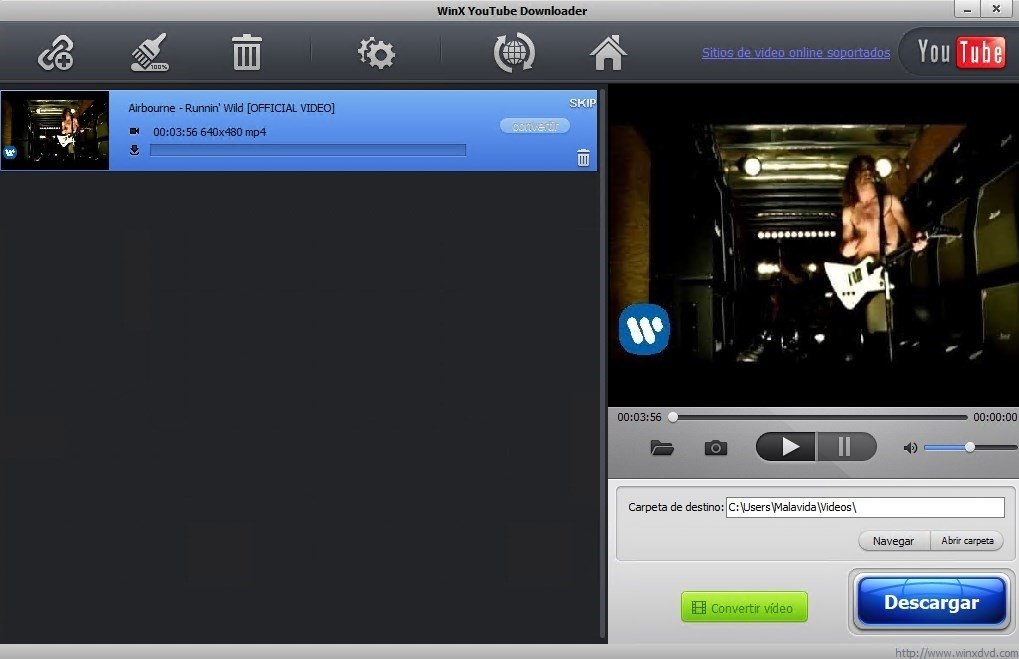 Descarga de un vídeo con WinX YouTube Downloader