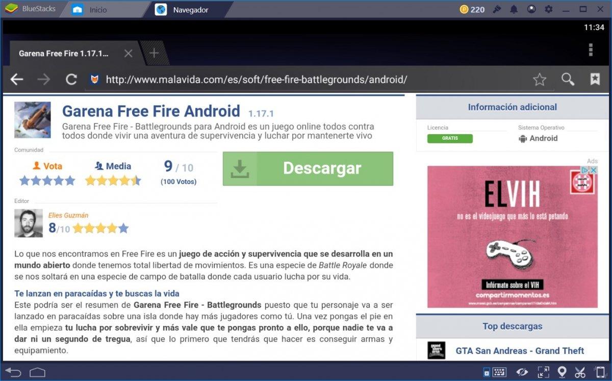 Descarga el APK de Garena Free Fire desde el navegador de BlueStacks