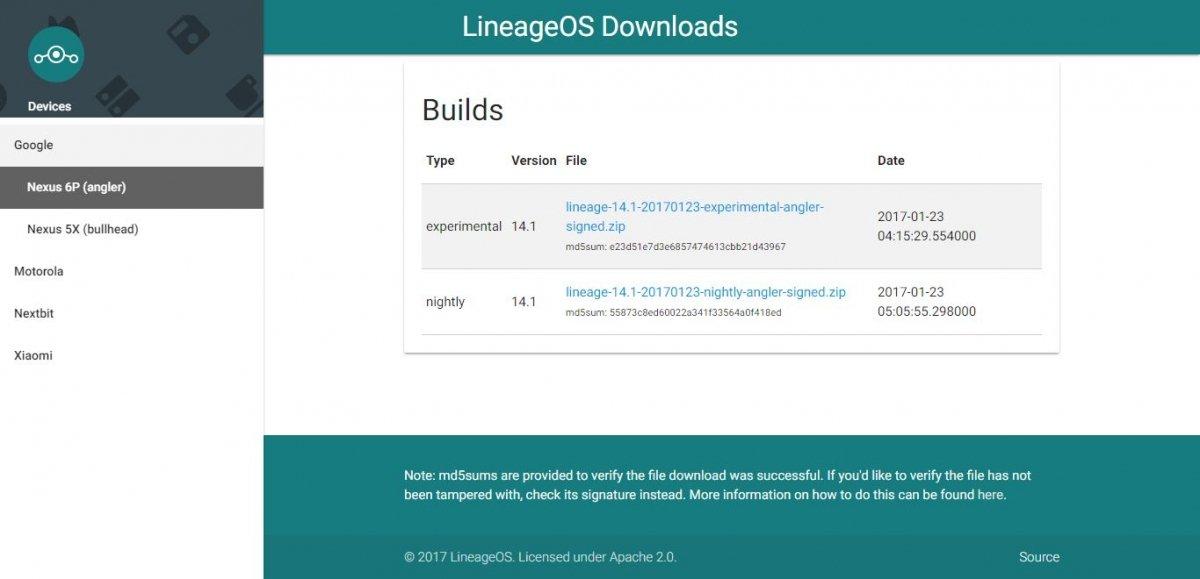 Descargas de las ROM de LineageOS desde la web oficial