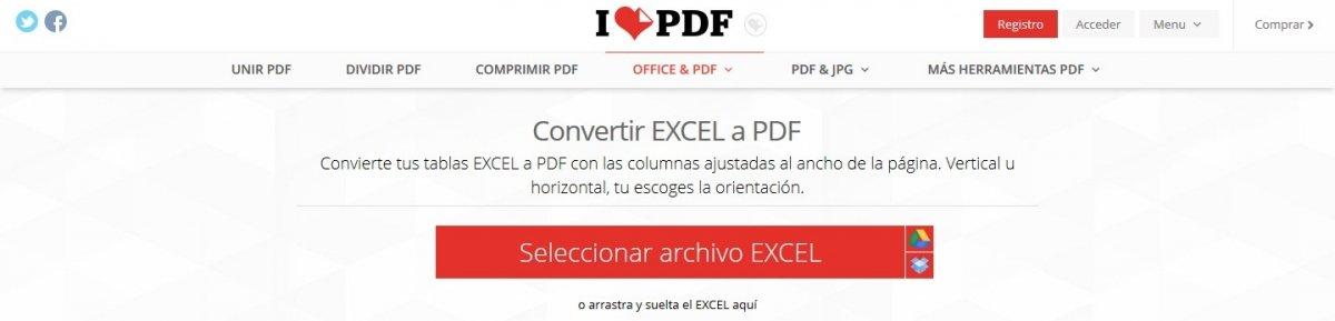 Desde aquí podemos subir un documento XLS para convertirlo en PDF