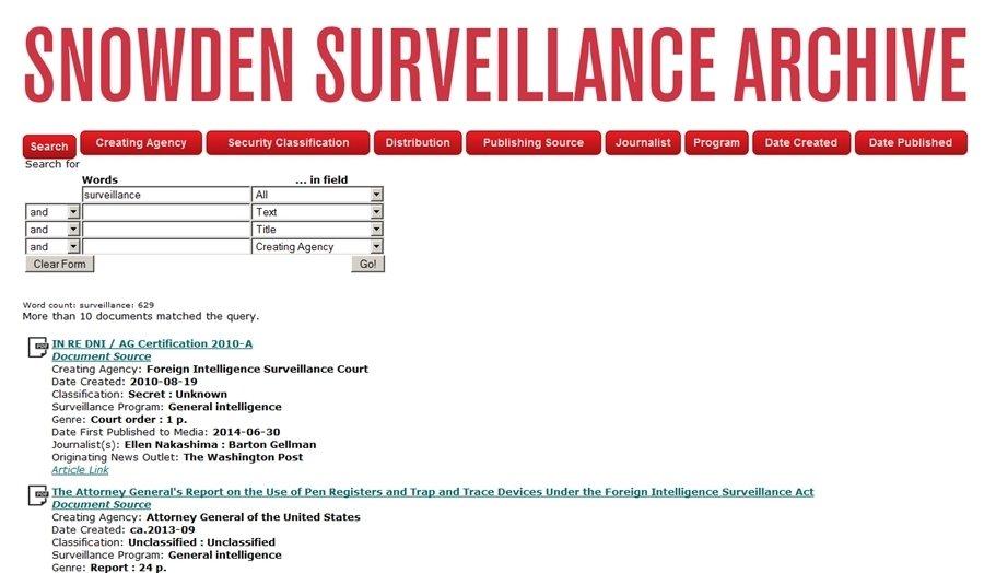 Desde el buscador puedes acceder a los documentos filtrados de la NSA