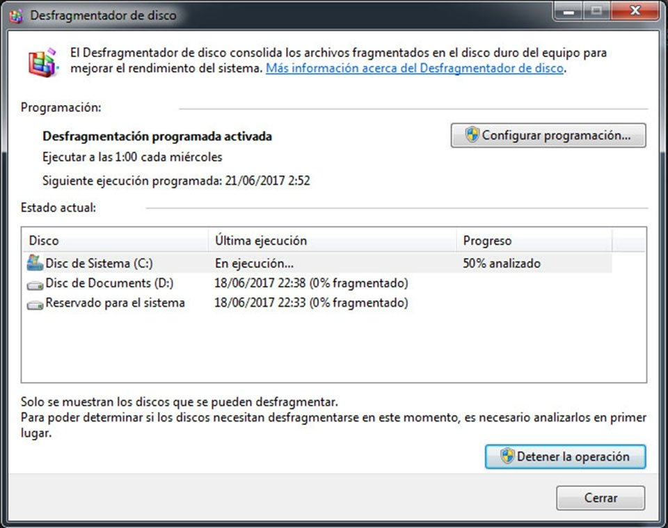 Desfragmentando disco duro en Windows 7