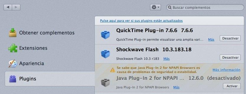Deshabilitar Java en Firefox