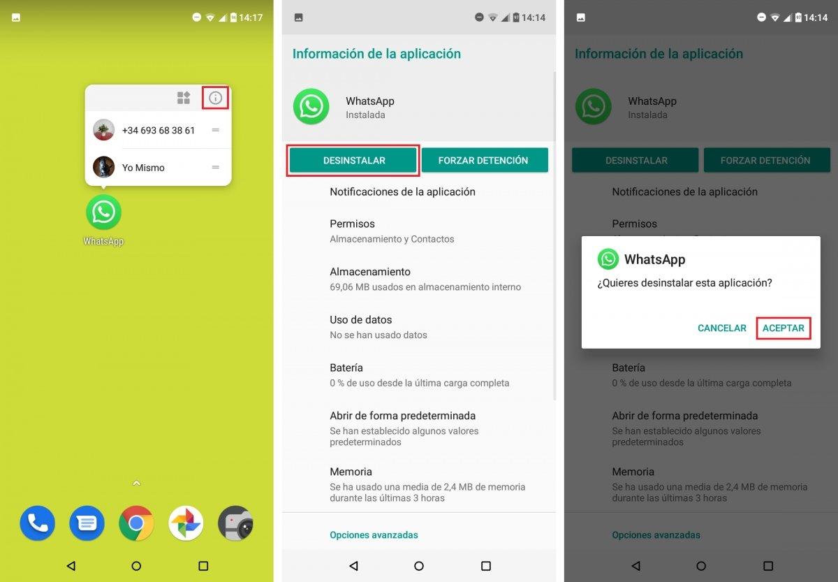 Desinstalación de WhatsApp en Android
